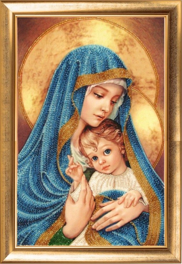 Вышивка икон бисером мадонна с младенцем