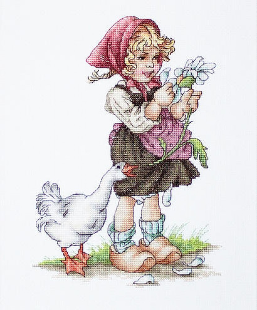 Вышивка крестом девочка с гусями