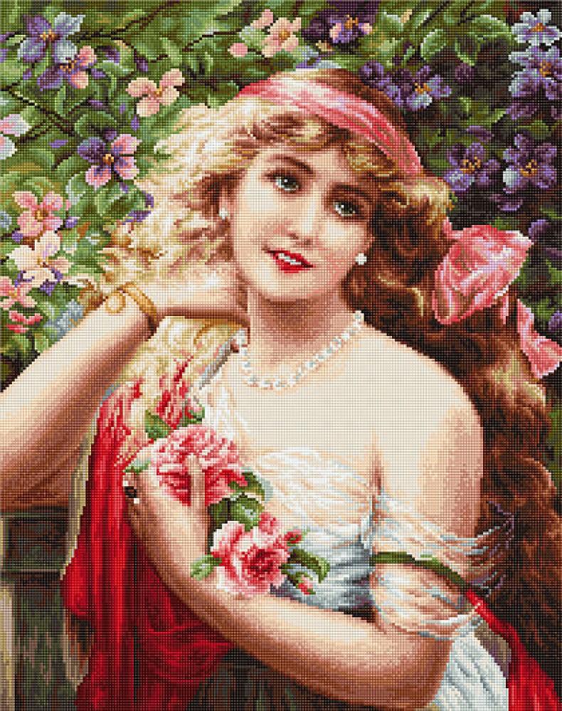 Вышивка девушка в розах