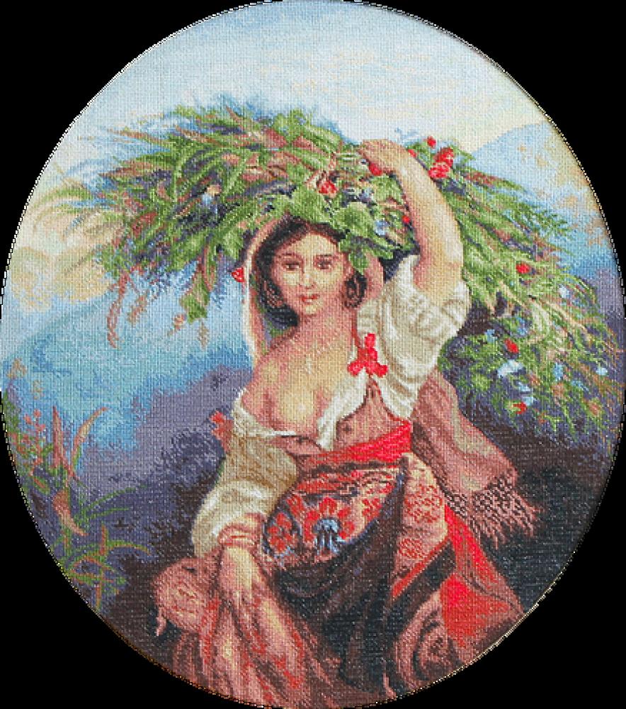 Вышивка крестом итальянка с цветами