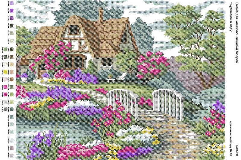 Домик в саду вышивка схема 585