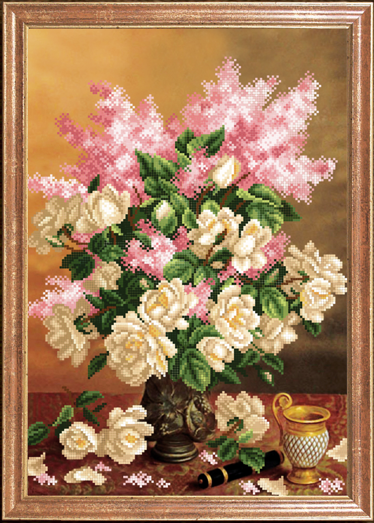 Вышивка цветы большие картины