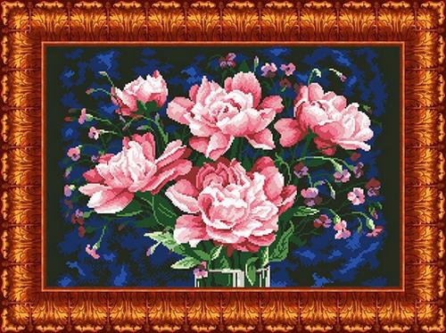 Вышивка красные цветы на черном фоне 63
