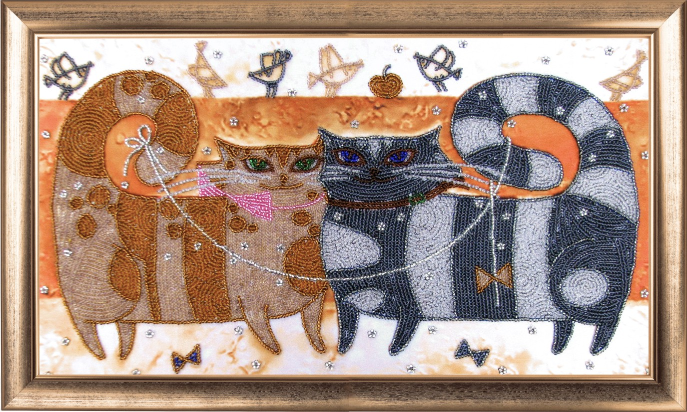 Вышивка с кошками бисером