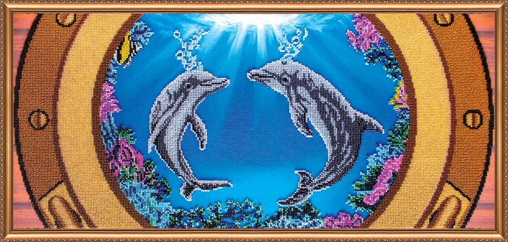 Вышивка дельфины гладью 65