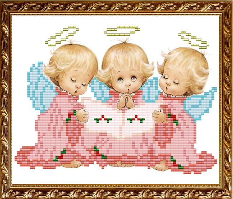 Схема для вышивки с тремя ангелочками 794