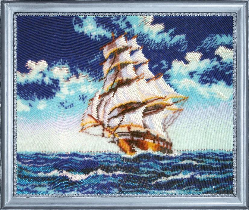 Корабль парусник в вышивке 327
