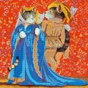 Рисунок на ткани для вышивки бисером Коты на маскараде