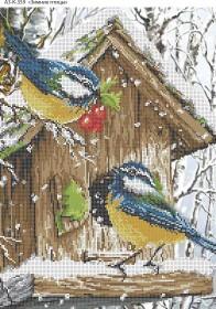 Схема для вышивки бисером на габардине Зимние птицы, , 70.00грн., А3-К-359, Acorns, Коты, бабочки, волки и птицы