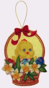 Набор для изготовления куклы из фетра для вышивки бисером Пасхальная корзинка