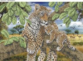 Схема для вышивки бисером на габардине Леопарды, , 70.00грн., А3-К-315, Acorns, Коты, бабочки, волки и птицы