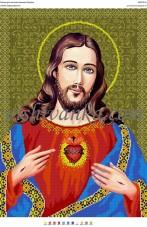 Схема для вышивки бисером на атласе Святе Серце  Христа Вишиванка А2-057 атлас