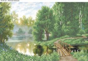 Схема для вышивки бисером на габардине Речной пейзаж, , 70.00грн., А3-К-321, Acorns, Пейзажи и натюрморты