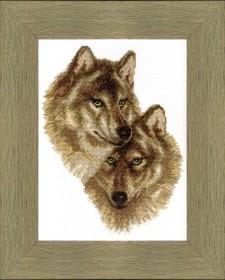 Набор для вышивки крестом Волк и волчица