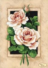 Схема для вышивки бисером на атласе  Винтажные розы Tela Artis (Тэла Артис) ТА-382