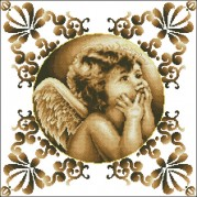 Схема вышивки бисером на габардине Ангел