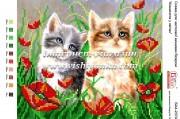Схема для вышивки бисером на атласе Кошенята у квітах