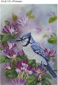 Схема для вышивки бисером на габардине Птичка