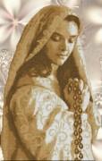 Схема вышивки бисером на габардине Мадонна