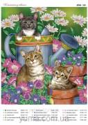 Схема вышивки бисером на атласе Котята в цветах