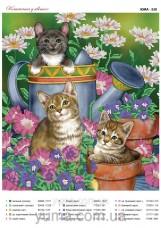 Схема вышивки бисером на атласе Котята в цветах Юма ЮМА-330