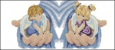 Схема вышивки бисером на габардине Ангелочки Эдельвейс С-253