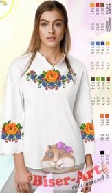 Заготовка вышиванки Женской сорочки на белом габардине Biser-Art SZ106 - 320.00грн.