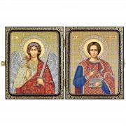 Набор для вышивки иконы в рамке-складне Св.Вмч.Целитель Пантелеимон  и Ангел Хранитель