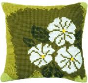 Набор для вышивки подушки крестиком Белые цветы