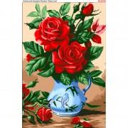 Схема вышивки бисером на габардине Троянди