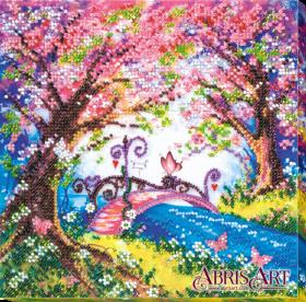 Набор-миди для вышивки бисером на натуральном художественном холсте Мостик в весну