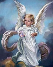 Набор для выкладки алмазной мозаикой Ангел с цветами Алмазная мозаика DM-158 - 640.00грн.