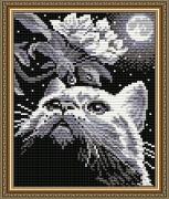 Набор для выкладки алмазной мозаикой Кот с веточкой