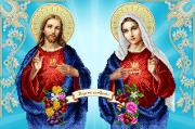 Схема для вышивки бисером на атласе Непорочное сердце Марии и Святой сердце Иисуса
