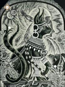 Схема вышивки бисером на атласе Тайная сила Женщины