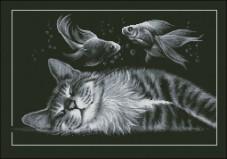 Схема вышивки бисером на габардине Сон кота Эдельвейс А-2-030