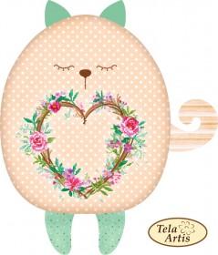 Заготовка для подушки Кот с сердечком, , 145.00грн., СТ-106, Tela Artis (Тэла Артис), Заготовки подушек для вышивки бисером