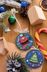 Набор для вышивки новогодней игрушки Мишуткин праздник