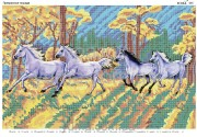 Схема вышивки бисером на атласе Прекрасные лошади