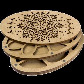 Органайзер для бисера многоярусный с деревянной крышкой FLZB-082