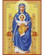 Схема вишивкі бісером на габардині Богородица на Престоле