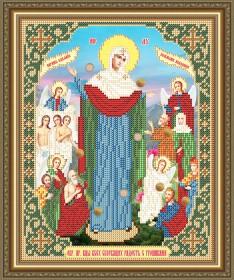 Схема вышивки бисером на габардине Образ Пр. Богородицы Всех Скорбящих в радости с грошиками Art Solo VIA4264 - 45.00грн.