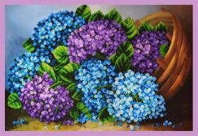Набор для вышивки бисером Гортензии в корзине Картины бисером P-292 - 755.00грн.