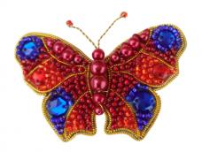 Набор для изготовления броши из бисера Бабочка (Красно-синяя) А-строчка АБН-020