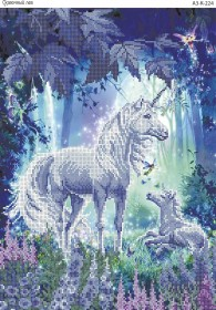 Схема для вышивки бисером на габардине Сказочный лес, , 70.00грн., А3-К-224, Acorns, Коты, бабочки, волки и птицы