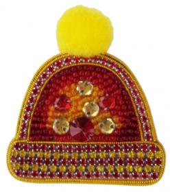 Набор для изготовления броши из бисера Шапочка (Красная)
