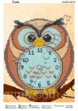 Схема вышивки бисером на атласе Часы - сова Юма ЮМА-4410