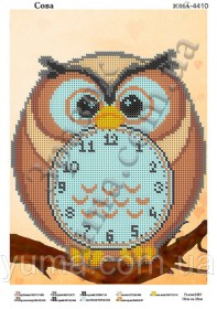 Схема вышивки бисером на атласе Часы - сова, , 40.00грн., ЮМА-4410, Юма, Часы