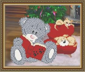 Схема вышивки бисером на габардине Мишка с книжкой, , 54.00грн., VKA4063, Art Solo, Новый год
