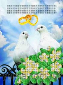 "Схема вышивки бисером на атласе Свадебная метрика ""Голубки"" Юма ЮМА-435 - 39.00грн."